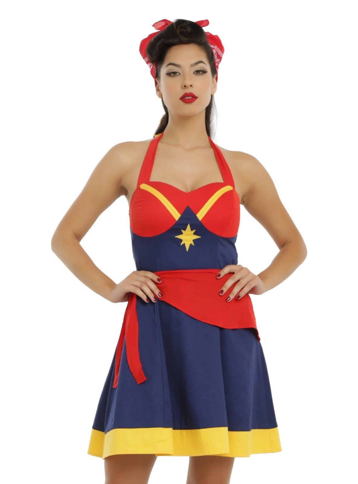 New Her Universe Women Of Marvel Captain Marvel Cosplay Halter Dress JRS MEDIUM