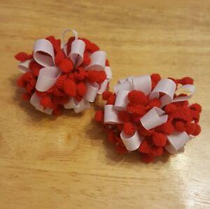1 Pair Of Navy Blue /& White Ribbon Loopy Bow School Bobbles Bonnie Lass Bows