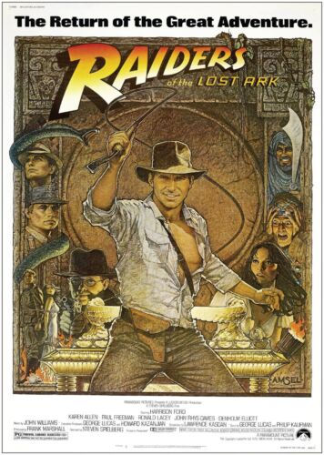 Indianna Jones Raiders Of The Lost Ark Vintage Large Movie Poster Print