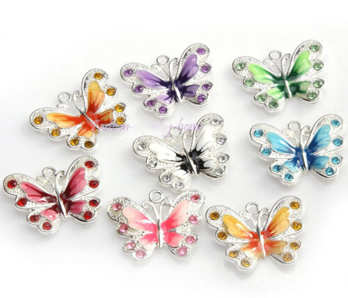 5Pcs Silver Plated Enamel Rhinestone Crystal Butterfly Charm Pendant Jewelry DIY