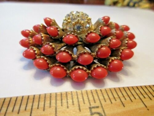 HAR SIGNED VINTAGE PIN CORAL RED AND RHINESTONE BE