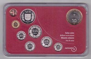 SWITZERLAN-D-9-DIF-UNC-COINS-MINT-SET-0-01-10-FRANCS-2004-YEAR-BIMETAL