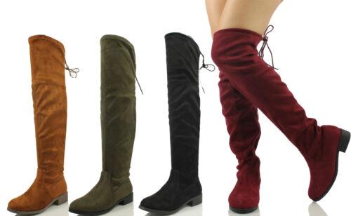 Nature Breeze Women/'s Faux Suede Back Tie Up Over the Knee Low Heel Dress Boot