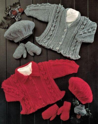 "Baby Frilly Peplum Cardigans Beret /& Mitts 16-26/"" Aran Knitting Pattern"