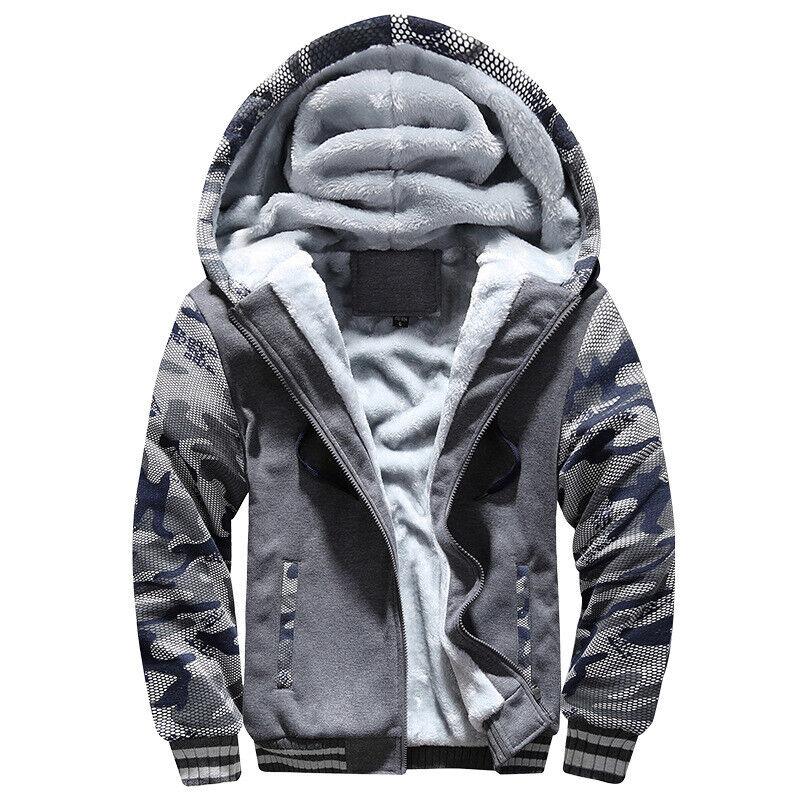 Men Warm Hoodie Hairy Padded Sweatshirt Coat Jacket Outwear Sweater Tops Coats