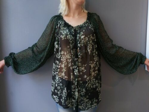 Free People Sheer Nylon Pirate Sleeve Blouse Top T