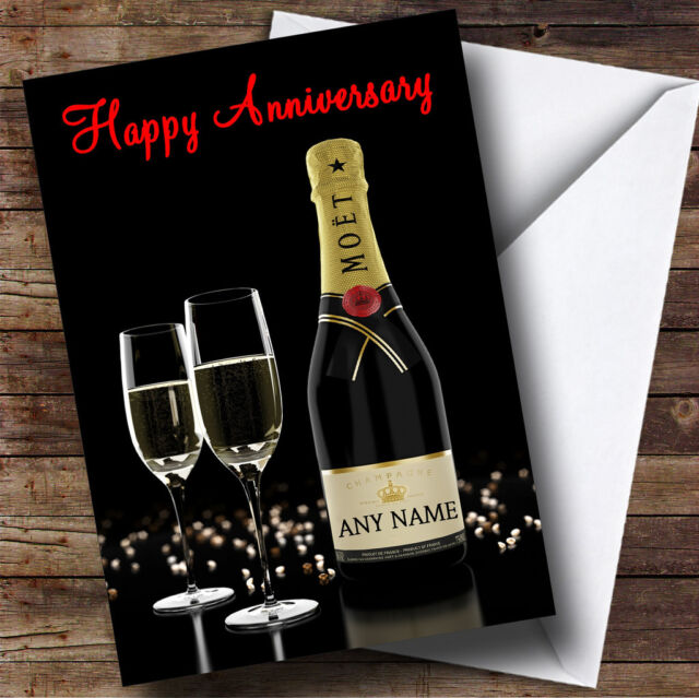 Champagne Moet Print Personalised Birthday Anniversary Bar Novelty Gift