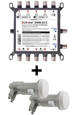DUR-line DWB-32 K - Wideband Einkabellösung SET mit 2* +Ultra WB2 Wideband LNB
