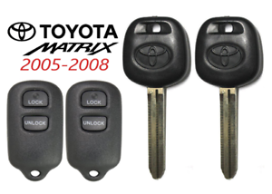 2 Toyota MATRIX 05-08 44D Transponder DOT Chip Key 3 Button Remote GQ43VT14T