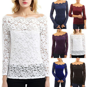 4f5d79bacc6 Ladies Off Shoulder Long Sleeve Tops Floral Lace Casual Bodycon Slim ...