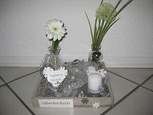 Tischdeko geschenk tischgesteck gesteck holz kerze - Tischdekoration silberhochzeit bilder ...