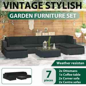 vidaXL Garden Lounge Set with Cushions 7 Piece Poly Rattan Black Outdoor Sofa