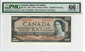 Canada-100-Dollars-Banknote-1954-BC-43c-PMG-GEM-UNC-66-EPQ