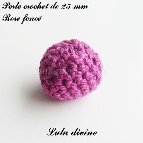 Perle en crochet de Ø 25 mm Perle Ronde Rose foncé