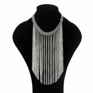 Women-Chain-Choker-Statement-Tassel-Chunky-Pendant-Bib-Necklace-Jewelry