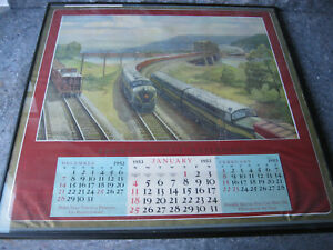 Vintage-1953-PRR-Pennsylvania-Railroad-Train-Calendar-Framed