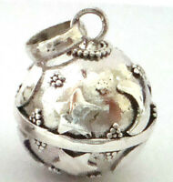 16mm 925 Sterling Silver Moon Star Harmony Ball Pendant Musical Chime Jingle Hm2