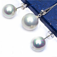 12-14 Mm White Pearl .925 Sterling Silver Earrings & Pendant Set 18 Free Chain on sale