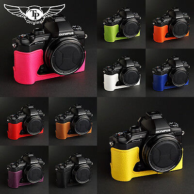 Handmade Genuine Real Leather Half Camera Case Bag Cover for Olympus Stylus 1 Black Bottom Opening Version