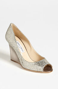 fe4959246a7  625+ JIMMY CHOO BAXEN Wedge Pump Shoes Champagne Glitter Sz 35   5 ...