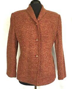 Rena Rowan Petite Womens Cranberry Multi-Color Wool Blend Jacket Sz 12P
