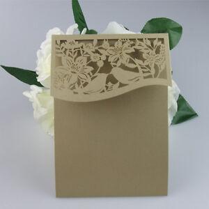Image Is Loading Laser Cut Pocketfold Wedding Invitations DIY Pocket Fold