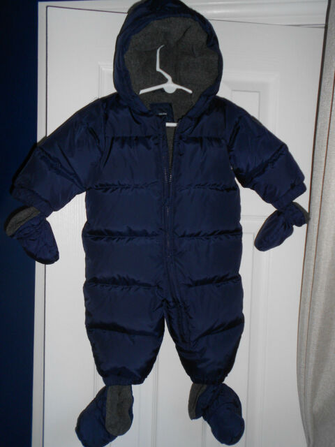 342dc64c1 Baby Gap Warmest Down Snowsuit Navy Blue Snap-in Booties Mittens ...