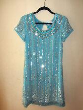 VTG 70s 80s Deco Sequin Beaded Evening Cocktail Mod Flapper Party 60s Mini Dress