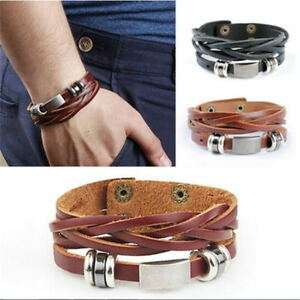 e5b919558a87 Men s Braided Genuine Leather Stainless Steel Cuff Bangle Bracelet ...