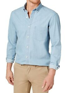 Club-Room-Mens-Blue-US-Size-Large-L-Pocket-Button-Up-Chambray-Shirt-55-159