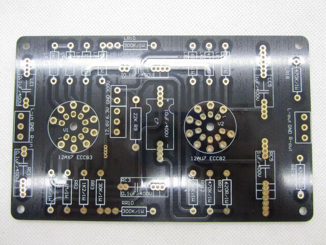 1pc Gold plated ECC83 12AX7/ECC82 12AU7 tube preamplifier DIY PCB 6.3V OR 12.6V