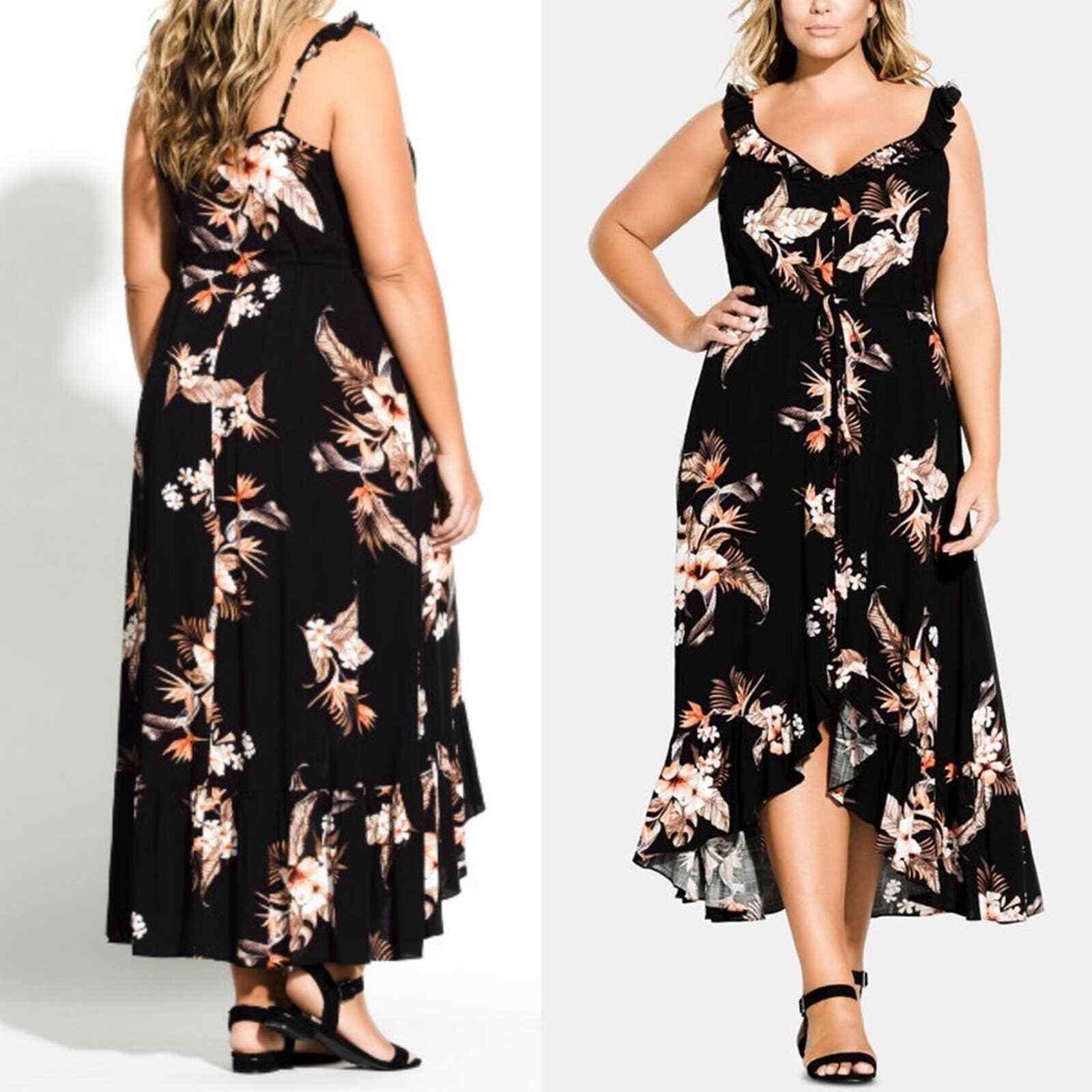City Chic Seville Black Floral Swing Midi Dress - image 9