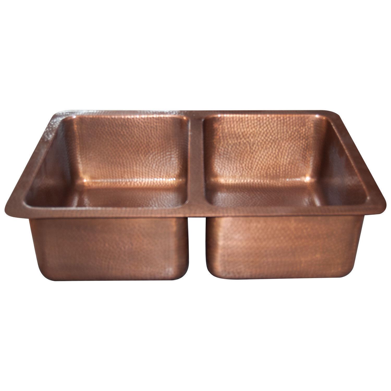 Double Bol Cuivre Kitchen Sink martelé Paroi Simple Design Finition Antique