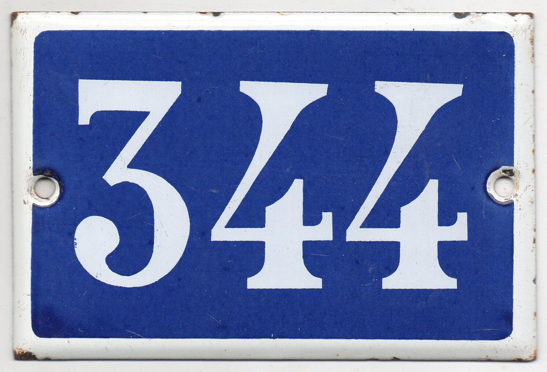 Old Blau French house number 344 door gate plate plaque enamel steel metal sign