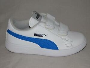 SCARPE-PUMA-BAMBINO-SMASH-V2-L-V-PS-365173-07-BIANCO-WHITE-SNEAKERS-STRAPPI-NEW