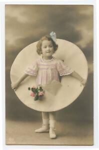 c-1914-Children-Child-Cute-LITTLE-GIRL-w-BLUE-Bow-in-hair-photo-postcard