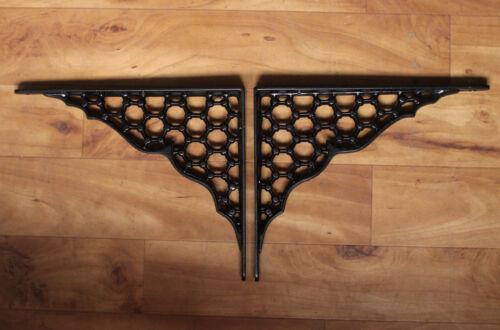 "Pair of 8/"" x 10/"" LARGE CAST IRON SHELF BRACKETS VICTORIAN HEAVY BLACK BR18bx2"