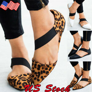 Women-Summer-Pointed-Toe-Shoes-Elastic-Strap-Leopard-Print-Pregnant-Flat-Sandals