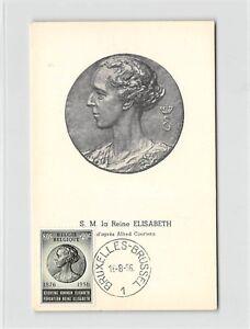 Belgique Mk 1956 Elisabeth Reine Queen Pure Carte Maximum Card Mc Cm D9683