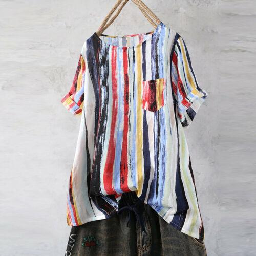 Women Casual Graffit Linen Blouse Rainbo Stripe Shirt Pocket Shirt Top M-5XL HOT
