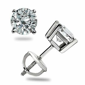 1-10-Ct-Brilliant-Round-Cut-Stud-Earrings-Lab-Diamond-14K-White-Gold-Screw-back