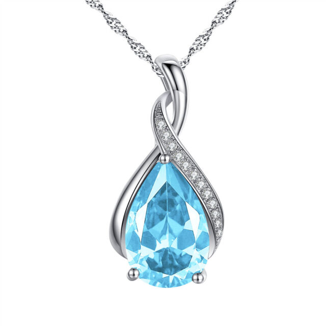 Aquamarine Created March Birthstone Necklace Solid Silver Jewelry Gifts for Her