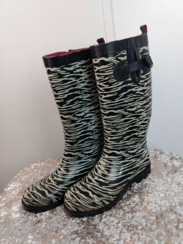 Capelli Zebra Print Rain Boots with Adjustable Ca… - image 1