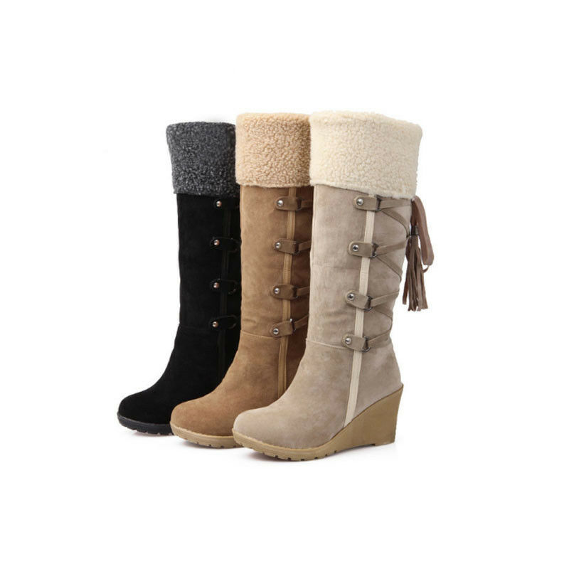 Women's Winter Mid-Calf Snow Boots Fur Lined Warm Suede Comfy High Heel shoes  L