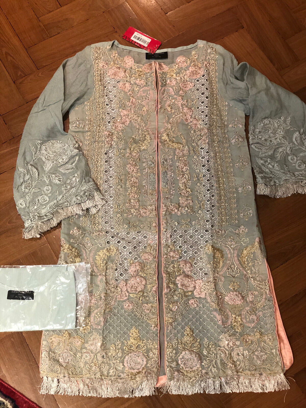 Sana Safinaz Exclusive Collection Embroidered Gown With Silk Shirt/