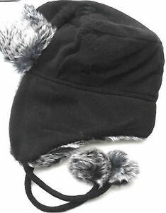6997d5db15b5b7 NEW Ladies Fleece Trapper Hat With Fur And Pom Poms (HAI-729) BLACK ...