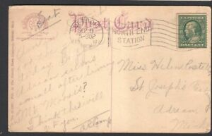1911-Sc-387-coil-perf-12-used-on-post-card-CV-250