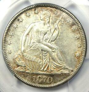 1870 Seated Liberty Half Dollar 50C - Certified PCGS AU Details - Rare Coin!