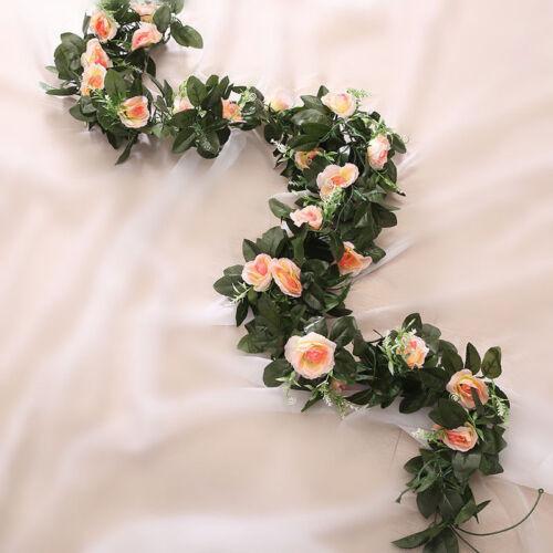2.5m künstliche Blume Seide Rose Leaf Garland Reben Ivy Hausgarten Deor #K10