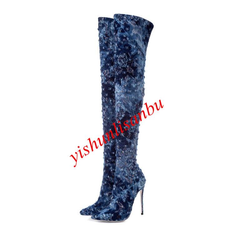 Sexy Mujer Jean Denim Stiletto Sobre la la la rodilla botas altas Forro de piel del muslo botas largas  hasta un 50% de descuento